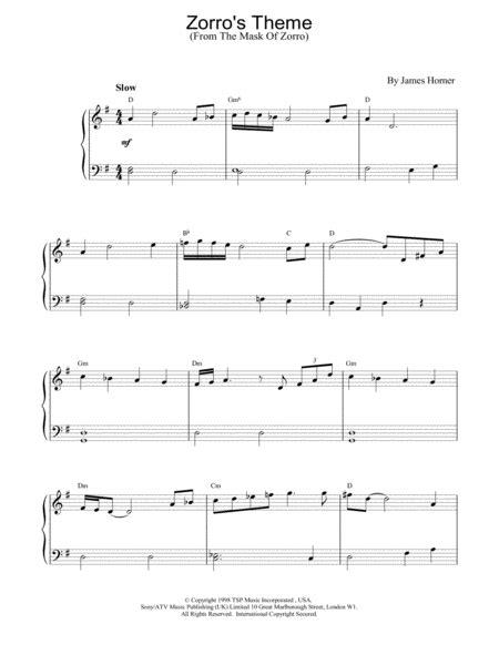 theme song zorro lyrics download zorro s theme sheet music by james horner sheet