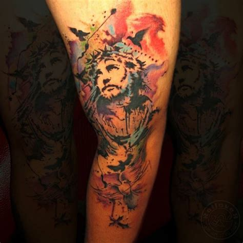 watercolor style sleeve of jesus with flowers