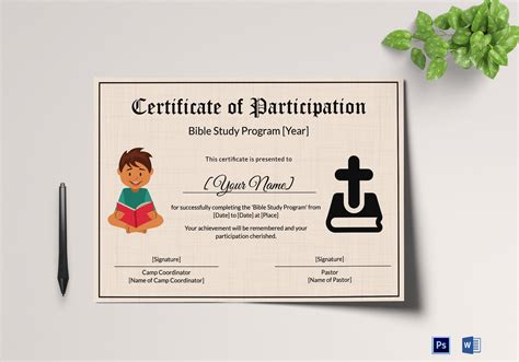 Bible Prophecy Program Certificate For Kids Design Template In Psd Word Bible Study Certificate Templates