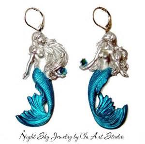 mermaid earrings mermaid earrings silver and blue mermaid jewelry