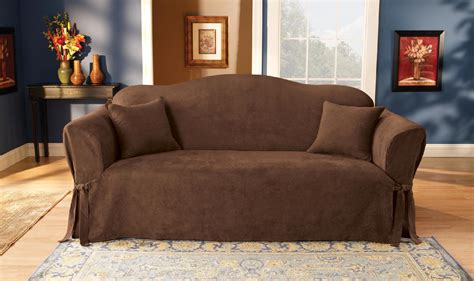 suede sofa cover sure fit soft suede sofa furniture cover chocolate home