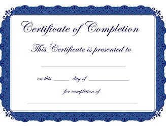 Free Certificate Of Completion Template Blank Certificate Of Completion Template Word
