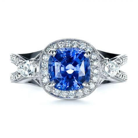 Blue Sapphire Engagement Rings by Custom Blue Sapphire Engagement Ring 1432 Bellevue