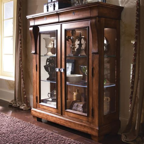 Glass Door Cabinet For Display Furniture Tuscano Curio Glass Door Display Cabinet Olinde S Furniture Curio Cabinets