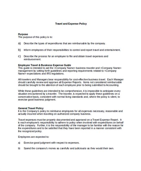 Travel And Expense Policy Template sle travel policy template 9 free documents in word pdf