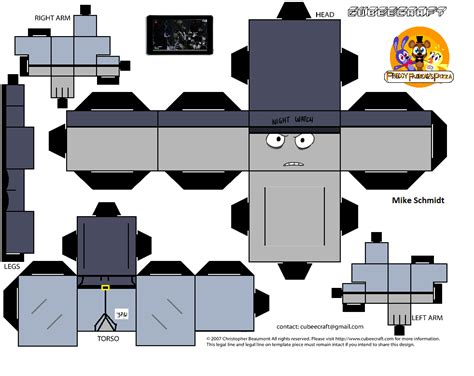 Papercraft How To - mike schmidt papercraft fnaf template by bronygamer64 on
