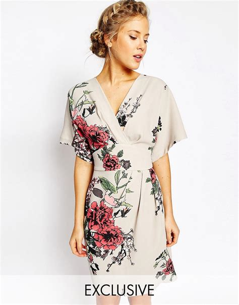 Dress Obi 2in1 Flower closet closet obi wrap dress with kimono sleeve at asos