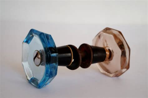 Decorative Glass Door Knobs by Vintage Glass Door Knobs Blue Brown Glass Doorknobs Decorative