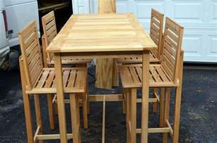 Outdoor Bar Table And Chairs Custom Made Bar Height Table And 4 Chairs Made For Outdoor Use By Darbynwoods Woodworking