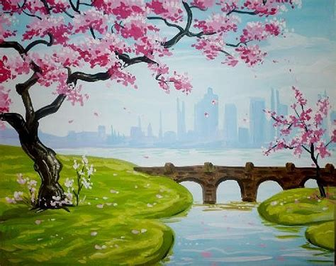muse paintbar westbury paint nite blossoms and a bridge