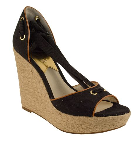 michael shoes michael kors s lilah wedge canvas shoes ebay