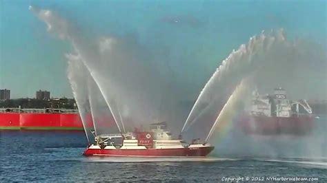 fireboat cruise fdny fire boat hose salute 6 23 2012 youtube