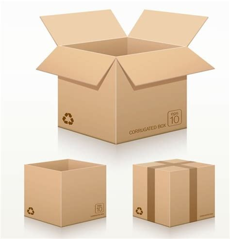 free vector recycled corrugated cardboard box templates 01