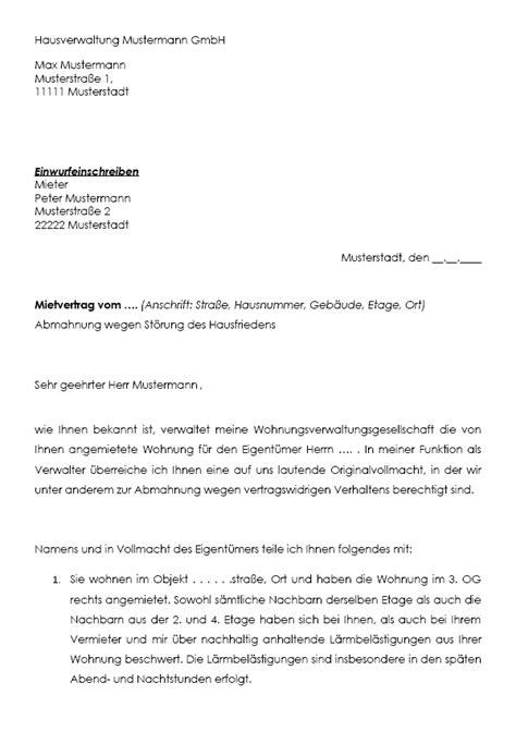 Mahnung Mieter Zahlungsverzug Muster Abmahnung Mieter Durch Verwalter St 246 Rung Hausfrieden Downloaden
