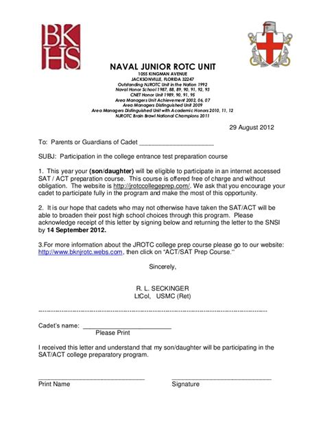 Parent Letter From About Unit Sat Act Jrotc College Prep Course Letter To The Parents