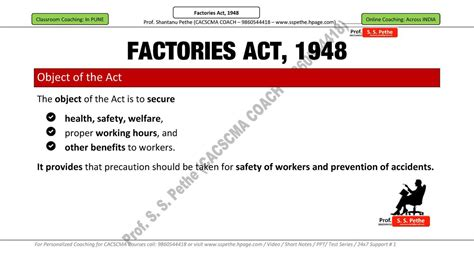 Factories Act 1948 Mba Notes by Factories Act Simplebooklet