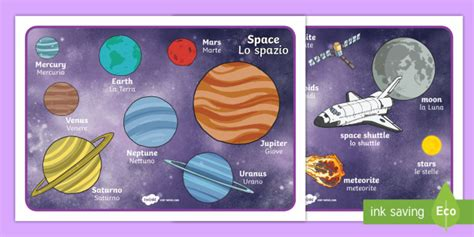 Space Word Mat by Space Word Mat Italian Space Word Mat Space Word