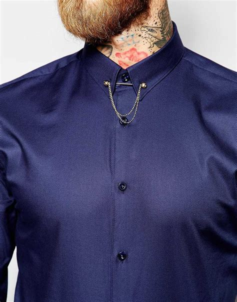 collar chain noose and monkey shirt with gold monkey skull collar bar chain in fit in blue