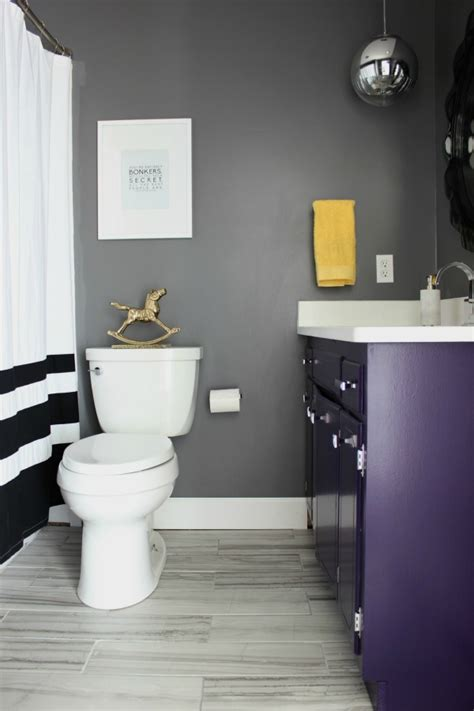purple and white bathroom something will always go wrong the hall bathroom remodel