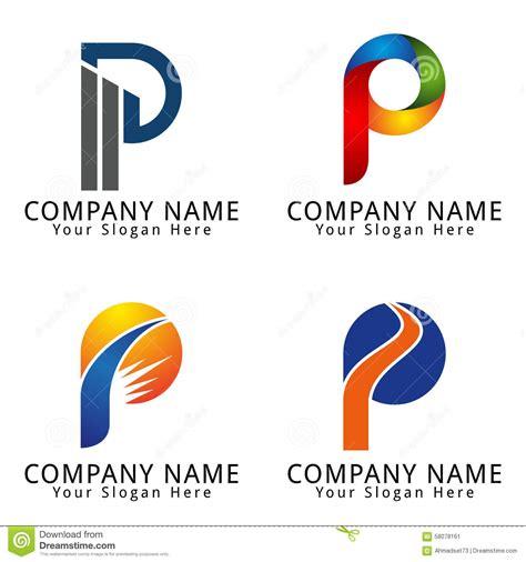 elegant letter p concept logo stock vector illustration