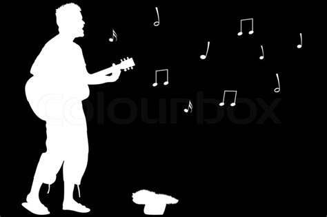 white silhouette guitar singing abstract white silhouette isolated on black background illustration