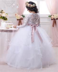 Dress white lace wedding communion pageant bridesmaid prom ball gown