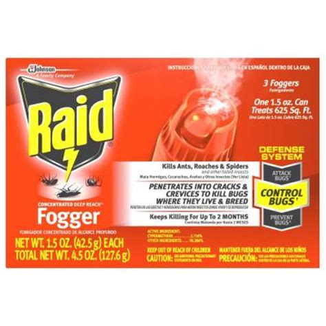home depot bed bug bomb raid 1 5 oz concentrated deep reach fogger 3 pack 81595