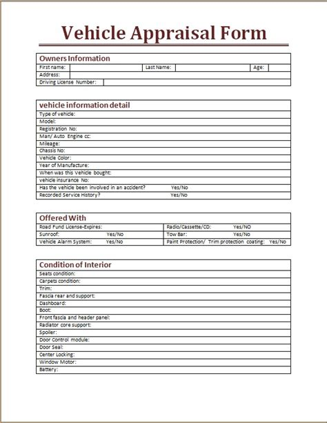vehicle appraisal form word excel templates