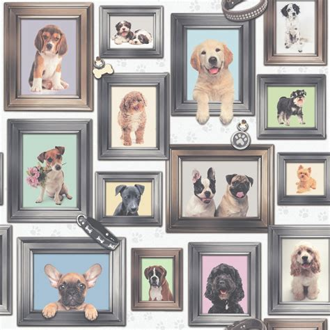 frame patterned wallpaper rasch puppy love dogs in frames pattern picture frame