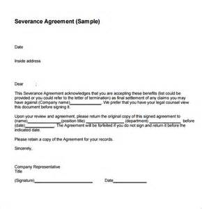 severance agreement template sle severance agreement 6 exle format