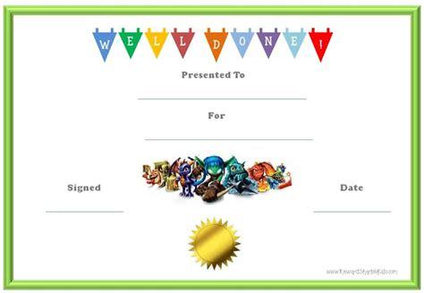 reward certificate templates skylanders behavior charts and certificates
