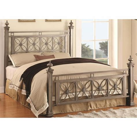 silver queen bed coaster 300394q silver queen size metal bed steal a sofa