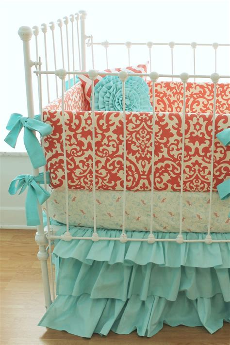 coral crib bedding love these colors girl nautical i