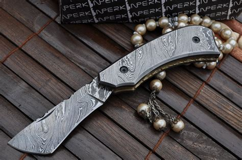 Handmade Knife Makers - custom made all damascus pocket knife damascus handle by