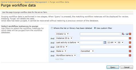nintex workflow request data to purge workflow data