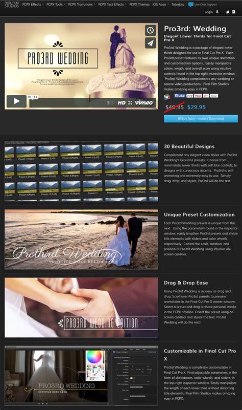 final cut pro x plugins pixel film studios released prointro wedding plugin