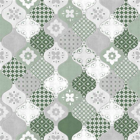 green patterned tiles modern wallpaper patterned tiles muriva l4040 murivamuriva