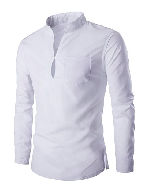 Majessty White Kemeja Pria Lengan Panjang Slim Fit white 2xl mandarin collar sleeve slim fit shirt rosegal