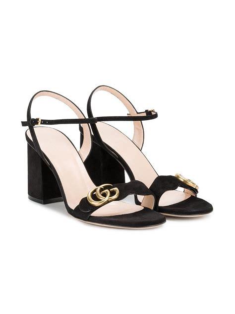 lyst gucci gg logo sandals in black