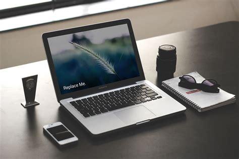 desk laptop photographer desk laptop mockup mockupblast