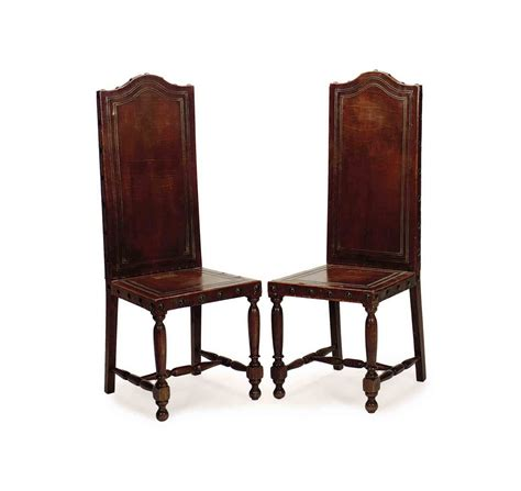 tall dining room chairs a pair of embossed leather and oak tall back dining chairs