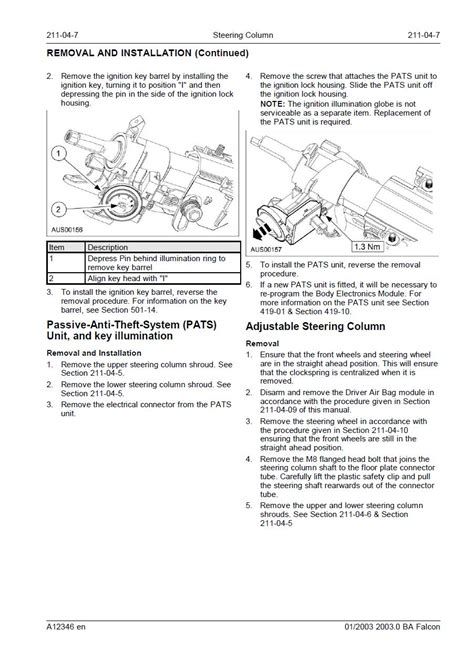 ford falcon how to remove a ba ignition barrel