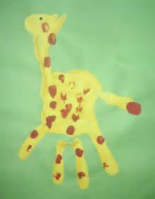 handprint crafts giraffe handprint painting