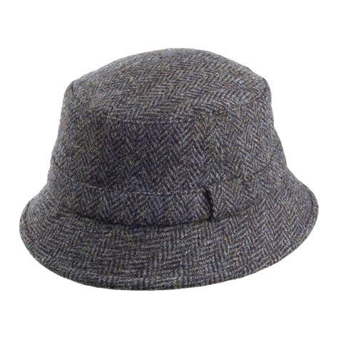 failsworth hats grouse harris tweed bucket hat blue mix