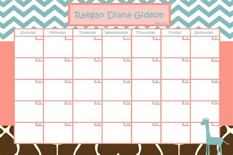 customize baby calendar for baby shower pool game by