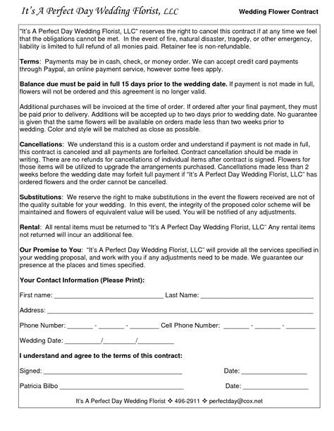 wedding flower contracts   Documents in 2019   Wedding
