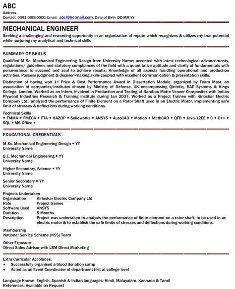 mechanical engineer resume for fresher free resume templates