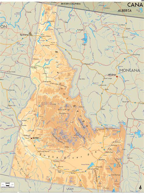 idaho physical map physical map of idaho ezilon maps
