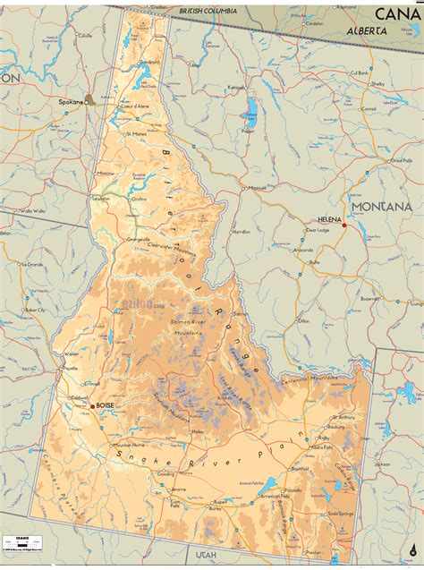 idaho map usa physical map of idaho ezilon maps