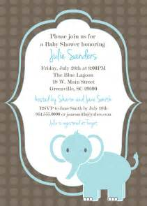 Baby Shower Invitation Templates by Printable Baby Shower Invitation Elephant Boy Light Blue